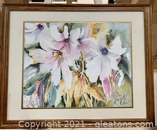Beautiful Floral Framed Watercolor Print
