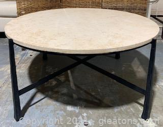 Heavy Round Travertine and Metal Coffee Table