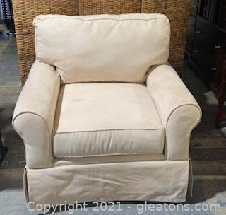 Cream Colored Suede Arm Chair
