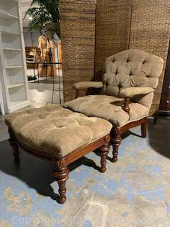 Button Tufted Chair and Ottoman With Turned Wood Legs