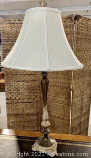 Polished Tall Ornate Table Lamp