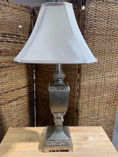 Distressed Silver Tabletop Lamp