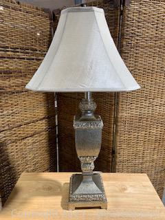 Distressed Silver Table Top Lamp