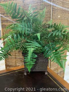 Lightweight Footed Planter with Faux Fern