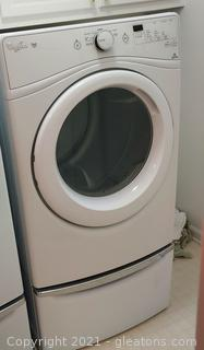 Very Nice Whirlpool Duet Electric Dryer on Pedestal (White)