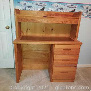Solid Pine Desk with Attached Hutch-Great for Kids Room