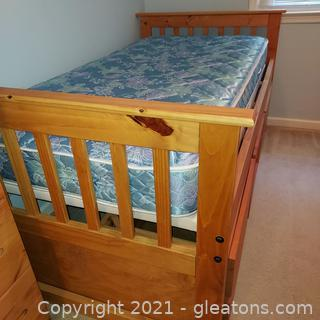 Solid Pine Twin Size Captains Bed with Storage