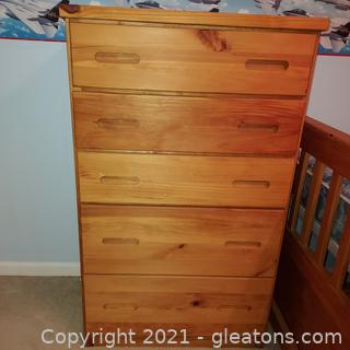 Solid Pine 5 Drawer Chest of Drawers- Great for Kids Room