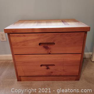 Solid Pine 2 Drawer Nightstand, Great for Kid's Room