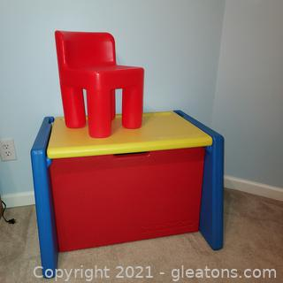 Precious Fisher Price Toy Box/Play Desk with Little Tikes Chair-Very Clean