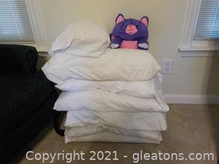 6 Bed Pillows, 1 Travel Pillow and Cute Moshi Cat Motif Pillow
