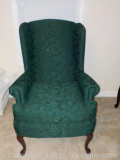 Forest Green Wingback Arm Chair A