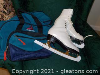 """Vintage Don Jackson Ladies Steel Blade """"Ice Time"""" Ice Skates"""