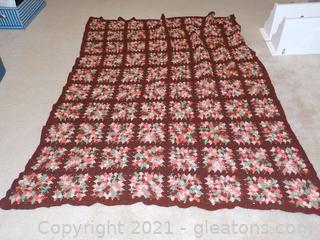 Handmade Crocheted Afghan –  Vintage