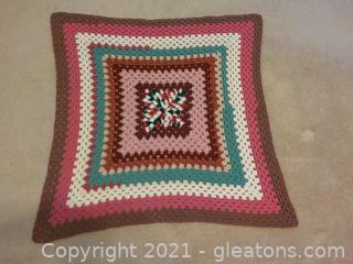 Vintage Handmade Crocheted Coverlet