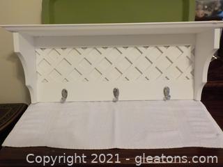 Attractive White Wall Shelf 3 Hooks (A)
