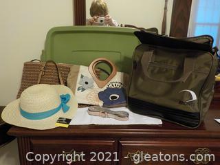 2 Stylish Handbags ,New Straw Hat and Wonderful Utility Bag