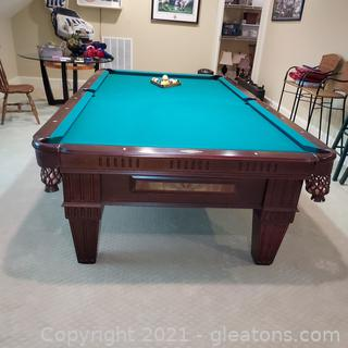 Beautiful Proline Tournament Size Billiard Table (9')  (Buyer Must Disassemble, Located Upstairs)