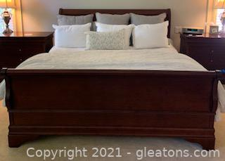 King Size Mahogany Sleigh Bed Frame and Mattress