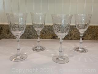Four Fostoria Navarre Etched Crystal Wine/Water Goblets