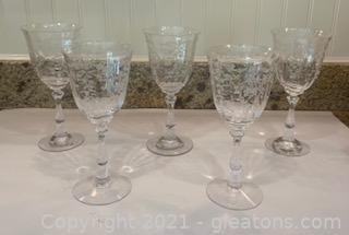 Five Fostoria Navarre Etched Crystal Wine/Water Goblets