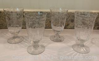 Four Fostoria Navarre Etched Crystal Iced Tea Goblets