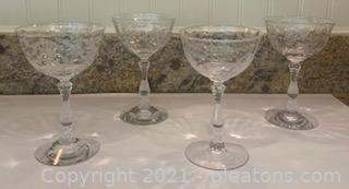 Four Fostoria Navarre Etched Crystal Champagne Glasses