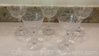 Five Fostoria Navarre Etched Crystal Champagne Glasses