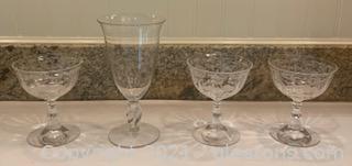 Three Fostoria Navarre Sherbet Glasses and One Iced Tea