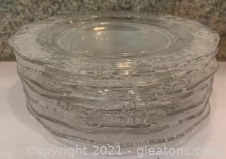 Seven Fostoria Navarre Etched Crystal Luncheon Plates