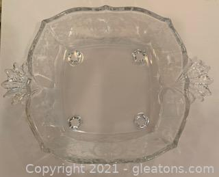 Fostoria Navarre Etched Crystal Square Bowl