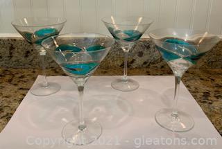 Four Mouthblown Martini Glasses