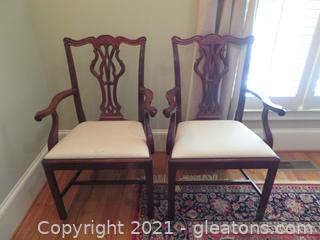 Intricately Detailed Dining Room Arm Chairs (2)
