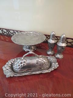 Arthur Court Butter Dish and Footed Tray and Pewter Salt and Pepper Shakers