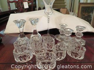 Crystal Candle Holders and Napkin Rings