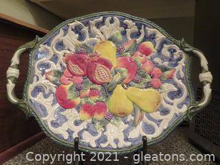 Stunning Fitz and Floyd Fruit Platter on Black Iron Stand