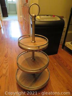 Very Sturdy Three Tier Wood and Metal Stand