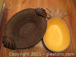 Rattan Basket with Wood Handles and Pineapple Bowl