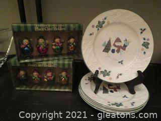 Four Mikasa Plates and 16 Snowmen Place Card Holders