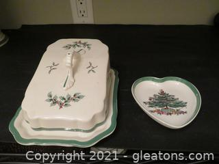 Beautiful Spode Christmas Covered Butter Dish and Heart Shaped Bowl
