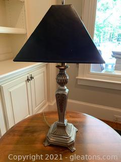 Metal Table Lamp W/ Black Shade