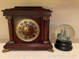 Bombay Company Table Clock & Snow Globe of NYC