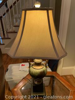 Lovely Green Metal Table Lamp W/Tan Shade