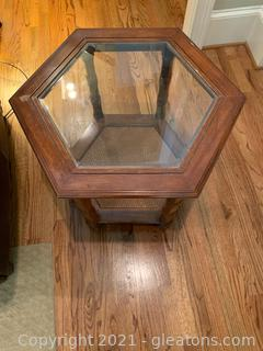 Wood & Glass Octagon Shaped Accent Table
