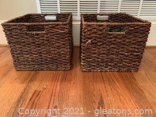 2 Decor Storage Baskets W/ Contents