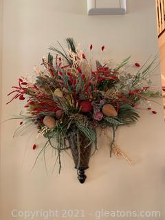 Beautiful Metal Wall Sconce W/Artificial Flower Arrangement (Lot of 2)