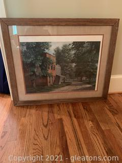 Framed & Matted Picture of Country Road & Store