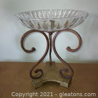 Large Fancy Castilian Crystal Compote – Perfect Fruit Bowl
