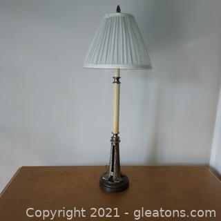 Retro Candlestick Lamp with Metal and Wood Base