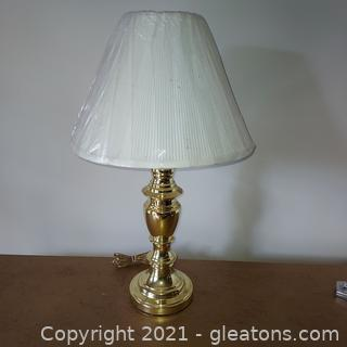 Shiny Brass Tone Table Lamp with Shade